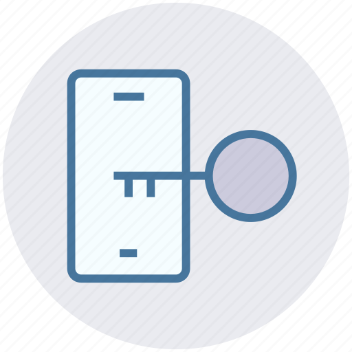 key, lock, mobile, open, phone, security icon