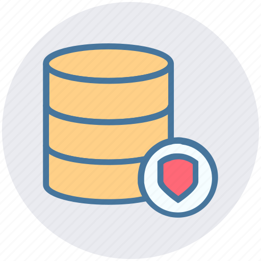 data, database, protection, security, shield icon