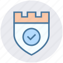 accept, castle, protection, secure, security, shield icon