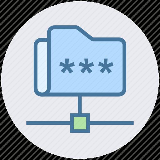 communication, folder, folder code, network, password, security icon