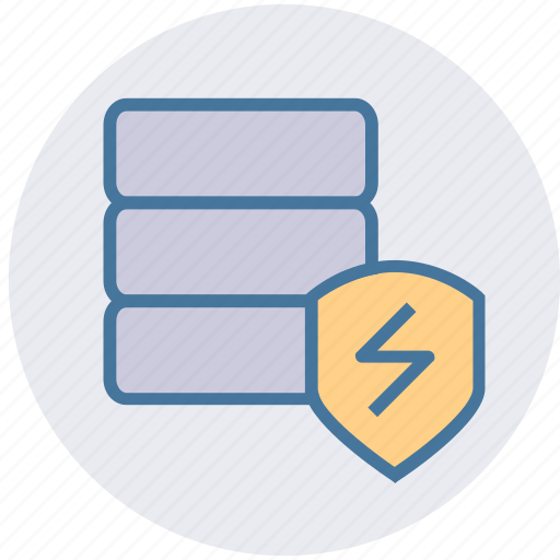 cyber, database, network, security, shield, thunder icon