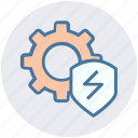 cog, cyber, gear, secure, security, settings, shield icon