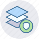 layers, papers, security, shield, stack, stack of papers icon