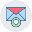envelope, letter, protection, secure mail, security, shield icon