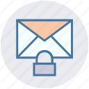 envelope, letter, lock, protection, secure mail, security icon