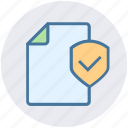 accept, documents safe, list, paper, security, shield icon