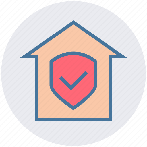 house, property, protection, safe home, security, shield icon