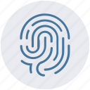 biometric, dactylgram, data, fingerprint, identification, touch id icon