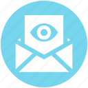 envelope, eye, letter, open, page, view