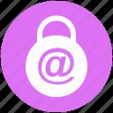 at, lock, padlock, password, protected, safe, security