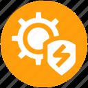 cog, cyber, gear, secure, security, settings, shield