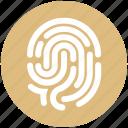 biometric, dactyl gram, data, fingerprint, identification, touch id