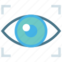 eye, optical, private, protection, retina, scanner, secure icon