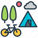bicycle, bike, camping, cycling, forest, tent