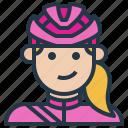 avatar, biker, cyclist, female, helmet