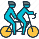 bicycling, couple, cycling, cyclist, tandem