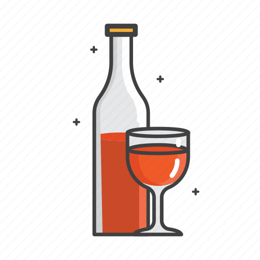 bottle, drink, general, glass, red, wine icon