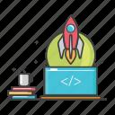 coding, coffee, general, laptop, program, scrip code, startup icon