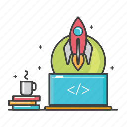 coding, coffee, general, laptop, program, scrip code, startup icon