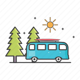 bus, car, daylight, general, nature, road icon