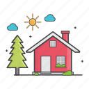 daylight, general, home, house, trees icon