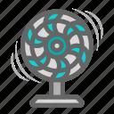air, daily, fan, fresh air, heat, objects, wind icon