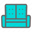 comfort, daily, living room, objects, relax, rest, sofa icon