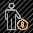 avatar, dollar, money, pay, user icon