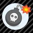bomb, burning, crime, danger, explosive, lit, skull, weapons, wick icon