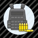 ammo, ammunition, armor, bullet, bulletproof, crime, danger, vest, weapons icon
