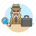 1, briefcase, crime, danger, detective, detectives, earphone, investigator, magnifier, male, search icon