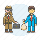 briefcase, crime, danger, deal, detective, detectives, disguise, exchange, male, money, undercover, ware icon