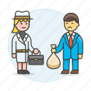 briefcase, crime, danger, deal, detective, detectives, disguise, exchange, female, money, undercover, ware icon