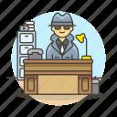 cabinet, crime, danger, desk, detective, detectives, investigator, male, office, phone, private icon