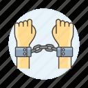 2, arrest, arrested, convict, crime, criminal, danger, handcuff, offender, prison, prisoners icon