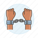 3, arrest, arrested, convict, crime, criminal, danger, handcuff, offender, prison, prisoners icon