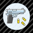 ammo, ammunition, armament, bullets, crime, danger, firearm, handgun, pistol, weapons icon
