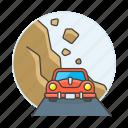 crime, danger, disasters, event, failure, landslide, landslip, mountain, natural, rockfalls, slope icon