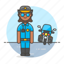 bike, civil, crime, danger, enforcement, female, guard, law, motorcycle, officer, police icon