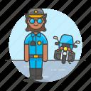 bike, civil, crime, danger, enforcement, female, guard, law, motorcycle, officer, police icon