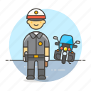 bike, civil, crime, danger, enforcement, guard, law, male, motorcycle, officer, police icon