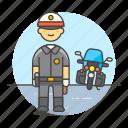 bike, civil, crime, danger, enforcement, guard, law, male, motorcycle, officer, police icon