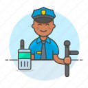 2, crime, danger, enforcement, guard, law, male, officer, police, radio, truncheon icon
