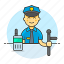 3, crime, danger, enforcement, guard, law, male, officer, police, radio, truncheon icon