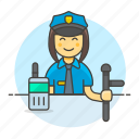 crime, danger, enforcement, female, guard, law, officer, police, radio, truncheon icon