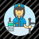 crime, danger, enforcement, female, guard, law, officer, police, radio, truncheon icon