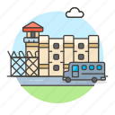 building, bus, crime, danger, jail, penitentiary, prison, prisoner, prisoners, transport, vehicle icon