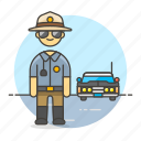 car, civil, crime, danger, enforcement, guard, law, male, officer, police, sheriff icon