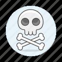 3, crime, crossbone, danger, death, poison, skeleton, skull, virus icon