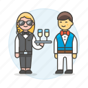 agent, crime, danger, disguise, earphone, event, female, social, spies, spy, undercover, waiter icon